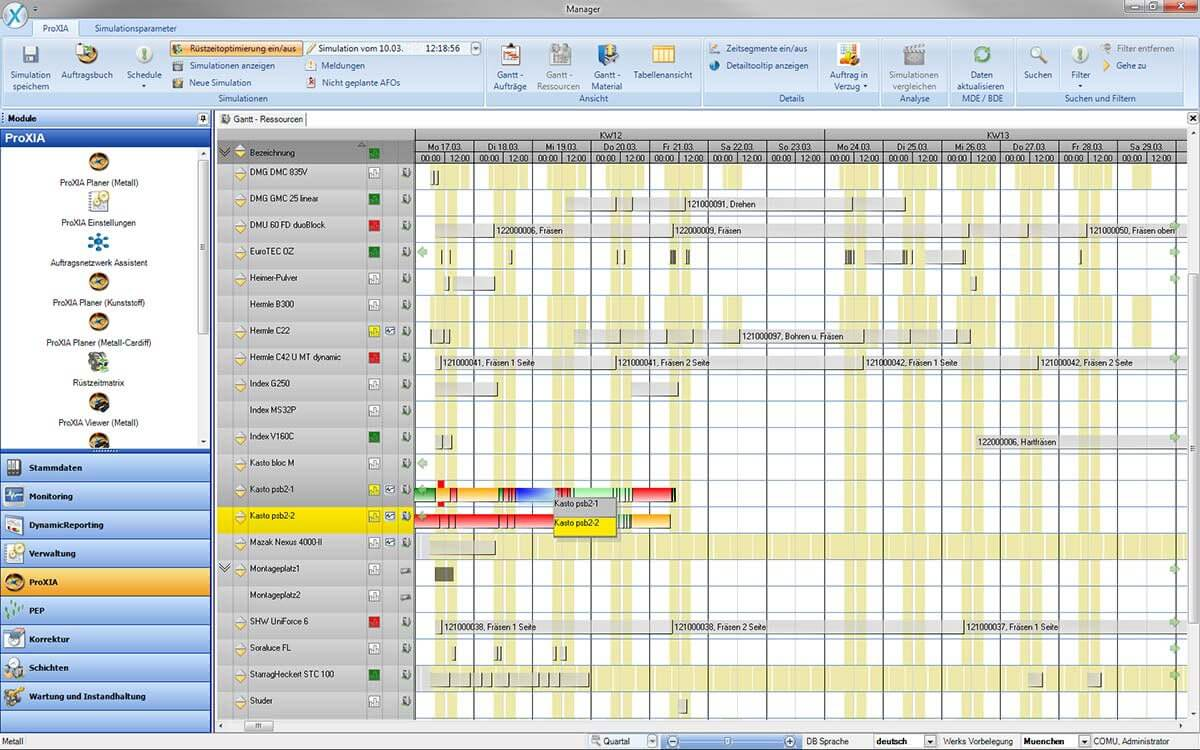 PROXIA Product Control room/Detailed planning software impression 1