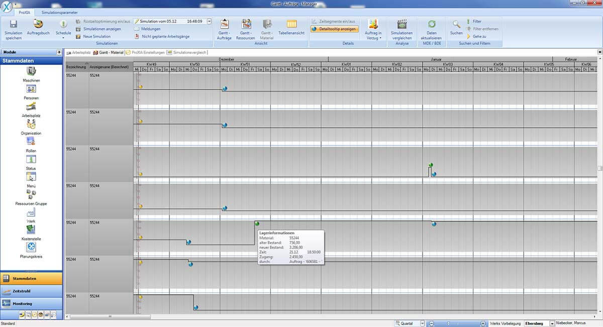 PROXIA Product Control room/Detailed planning software impression 7