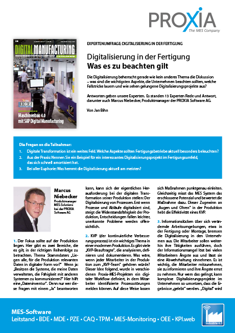PROXIA Flyer Digital Manufacturing Expertenumfrage