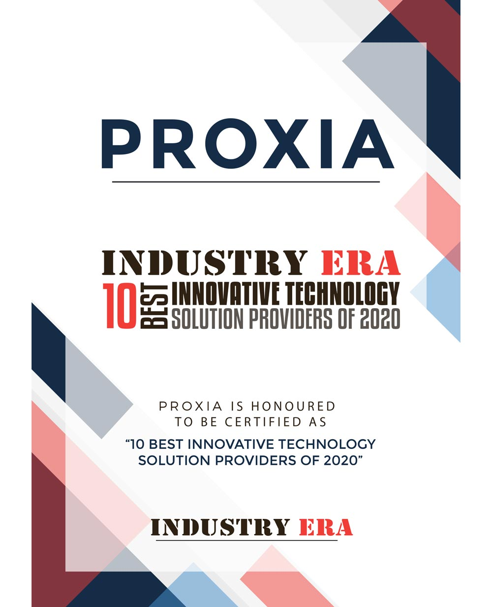 PROXIA Best Technology Solution 2020